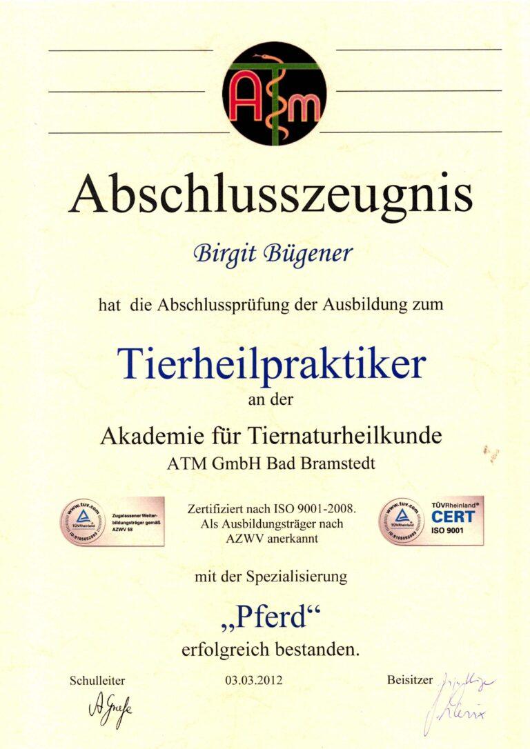 Birgit Bügener - Heilpraktikerin in Jena - _0000_Zeugnis ATM THP Pferd2 2012