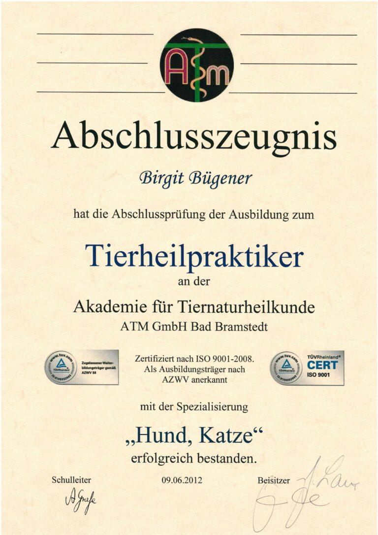 Birgit Bügener - Heilpraktikerin in Jena - _0001_Zeugnis ATM THP Hund Katze 2012