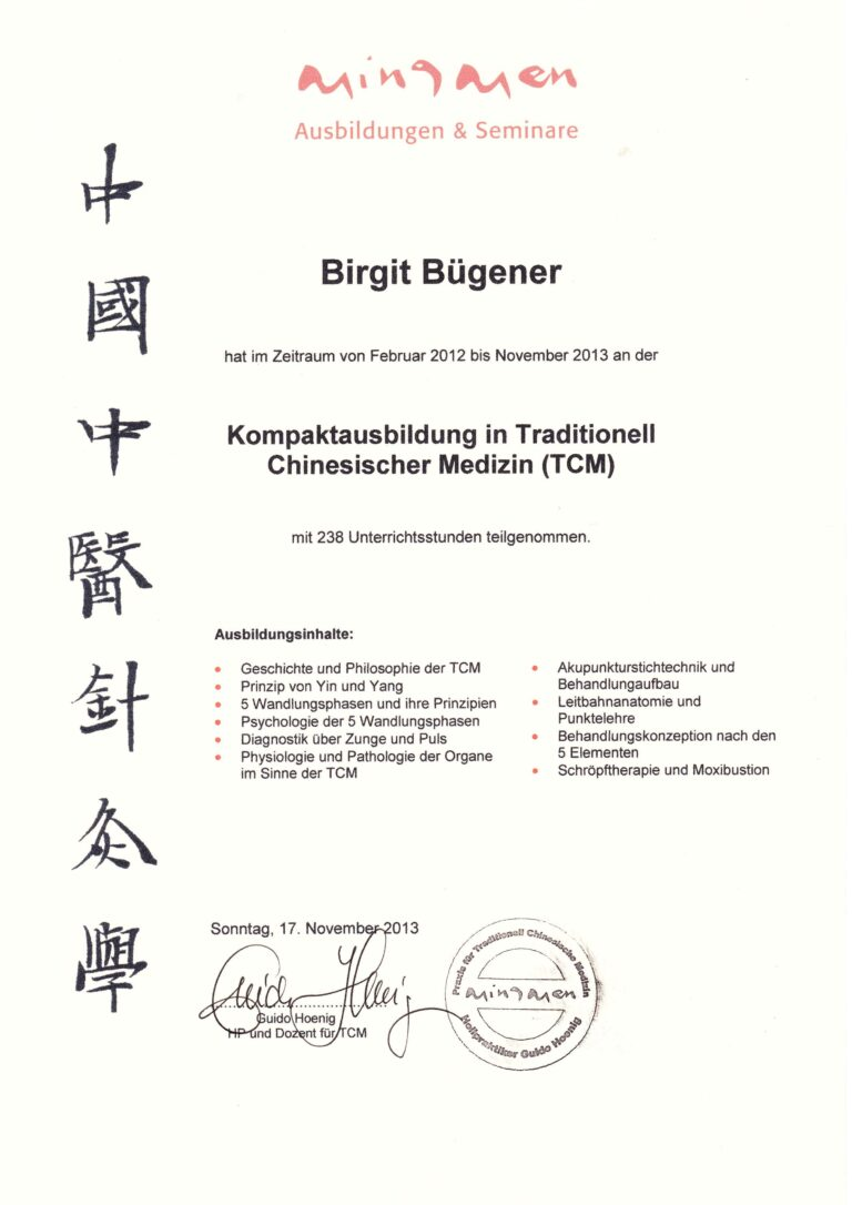 Birgit Bügener - Heilpraktikerin in Jena - _0002_TCM Kompaktausbildung Guido Hoenig 2013