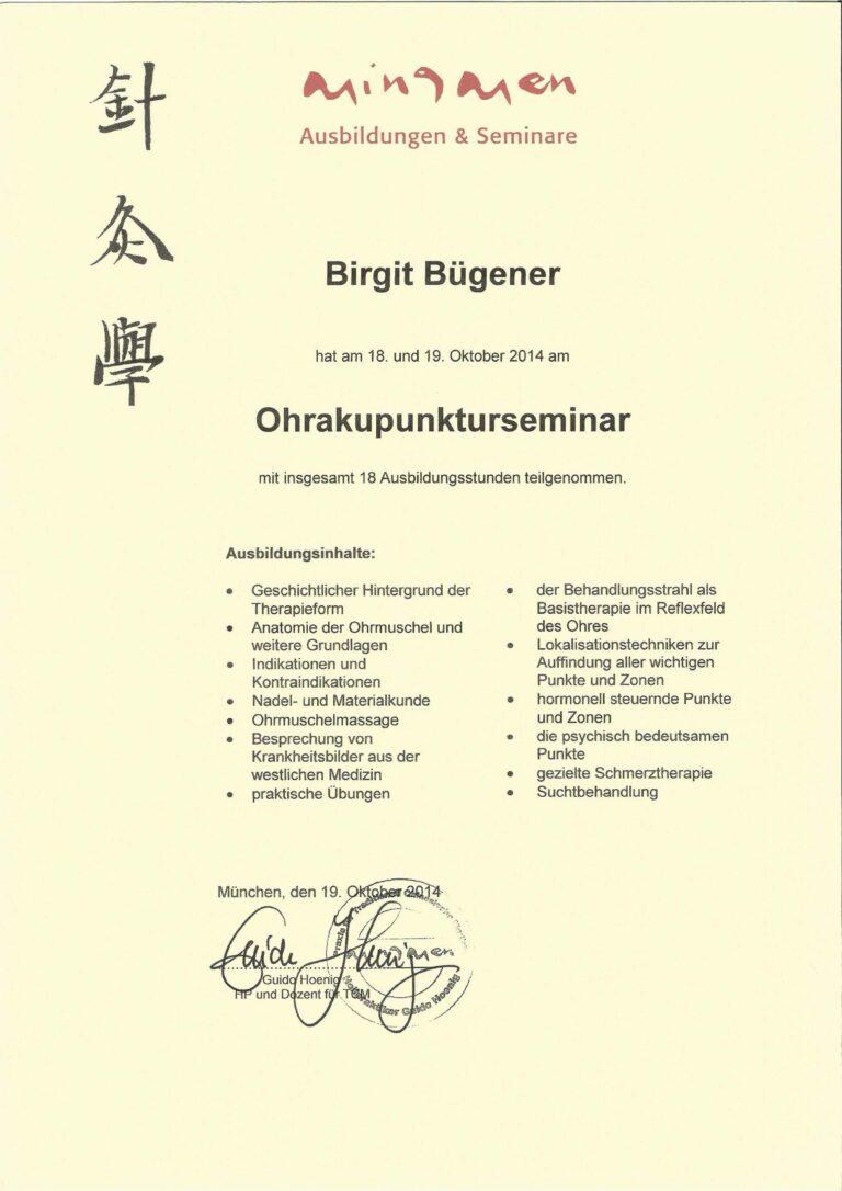 Birgit Bügener - Heilpraktikerin in Jena - _0003_Ohrakupunktur Zertifikat Guido Hoenig